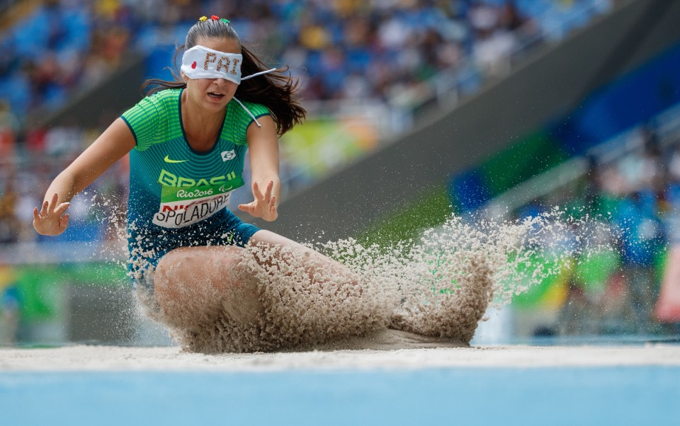 Lorena Spoladore BRA competes in the Women's Long Jump - T11 Final. Athletics, The Olympic Stadium The Paralympic Games, Rio de Janeiro, Brazil, Friday 16th September 2016. Photo: Simon Bruty for OIS. Handout image supplied by OIS/IOC