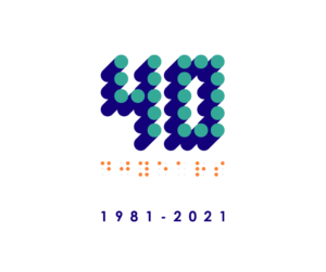 The IBSA at 40 logo which features braille dots in the form of the number 40 and the year 1981-2021 written in braille
