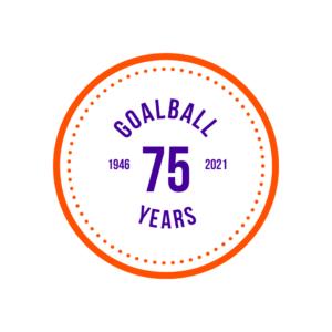 The 75 year anniversary logo for IBSA Goalball