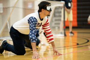 Tyler Merren awaits the return of the goalball