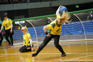 Jenny Blow of Australia is pictured in the middle of a throw